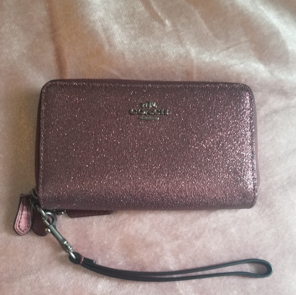 Coach Handbags - Double Zip Wallet Metallic Cherry